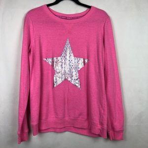 Hard Candy Crewneck Sweater Star Sequin Pink XL